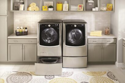 LG TWINWash in a laundry room with its extra drum open.
