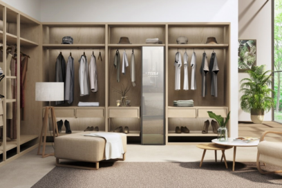 LG Styler effortlessly blending into a modern dressing room with smart clothes hanging up on either side