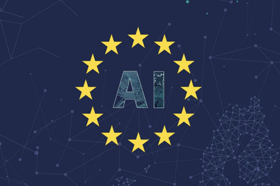 The acronym AI encircled by the stars of the European Union flag