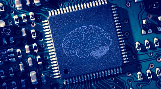 A computer chip with the image of a human brain inscribed