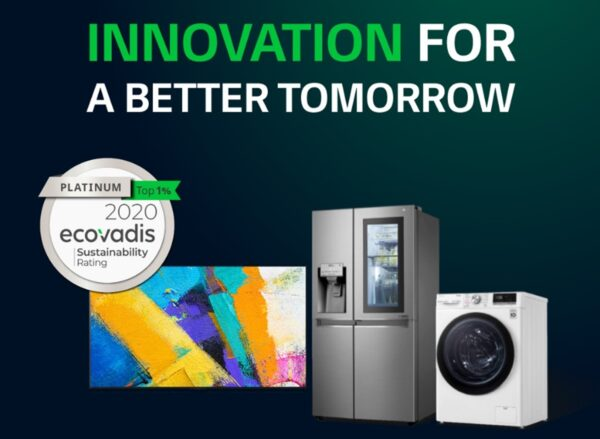 An image promoting 'Innovation for a Better Tomorrow' featuring LG's TV, refrigerator and washer alongside Ecovadis' platinum top 1% sustainability rating