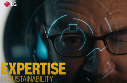 A screenshot from the LG HVAC Solutions YouTube video representing expertise in sustainability with a man looking into a lens as if having his eye scanned.