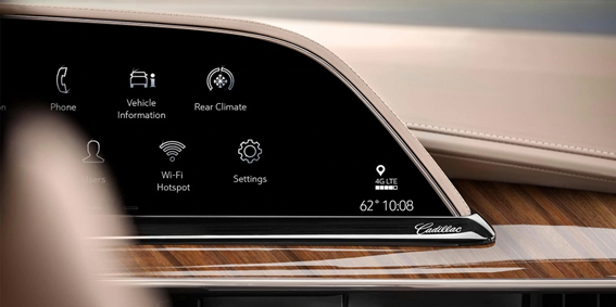 A close-up of the LG infotainment system installed in a Cadillac