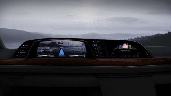 An image of LG's infotainment system installed on a car dashboard