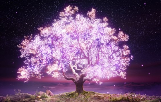 An enormous tree with bright purple-glowing leaves lighting up a world of fantasy