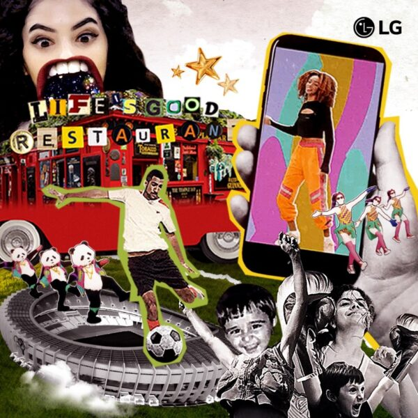 A collage promoting the Life's Good Restaurant with a smartphone displaying a woman dancing and a man playing football