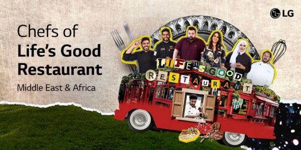 A promotional image displaying the celebrity chefs of the Life's Good Restaurant on top of the restaurant which is on wheels