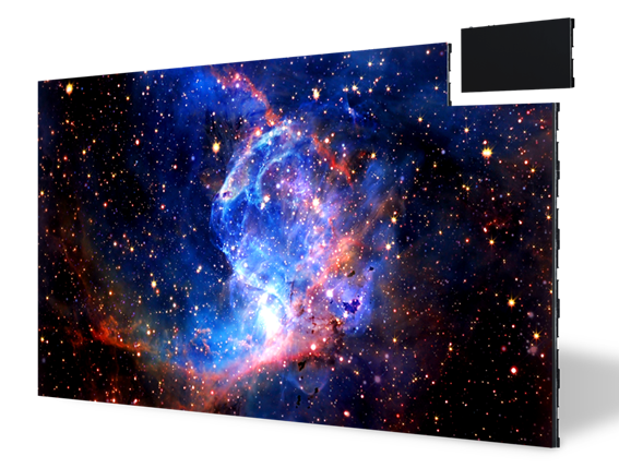 LG MAGNIT displaying a colorful galaxy with its panel in the very top right detached