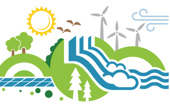 An illustration promoting the environment and renewable energy with the sun, wind turbines and solar panels depicted
