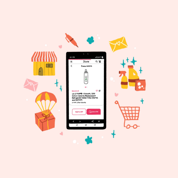 An illustration of a LG ThinQ app smartphone notification that lets the user purchase a replacement water filter for their fridge, with images of cleaning products, a shopping trolly and a house surrounding
