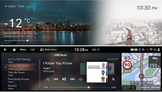 The LG infotainment system displaying various information including the weather, a navigation tool and a user interface for playing music