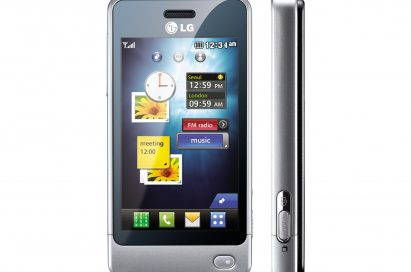 Front view of the LG Pop in white next to its side view, which shows its side buttons