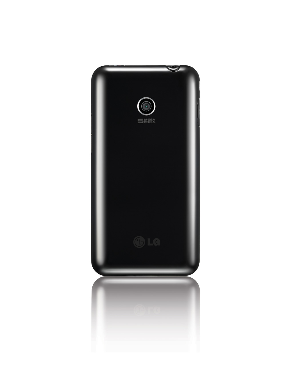 Rear view of the LG Optimus Chic's black variant