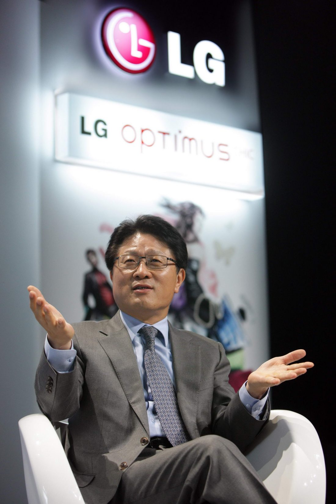 Dr. Skott Ahn sits on the LG Optimus stage while discussing LG's new phones and strategies in operating the business.