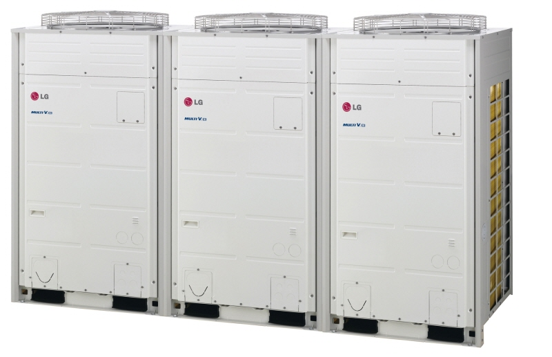 A line of three LG Multi V III commercial air conditioners