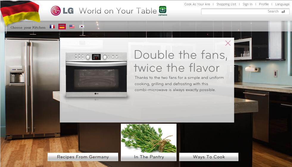 Screenshot of LG's online cooking portal home page