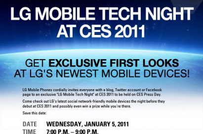 An invitation to LG Mobile Tech Night at CES 2011 with the sentence 'GET EXCLUSIVE FIRST LOOKS AT LG'S NEWEST MOBILE DEVICES!' in bold