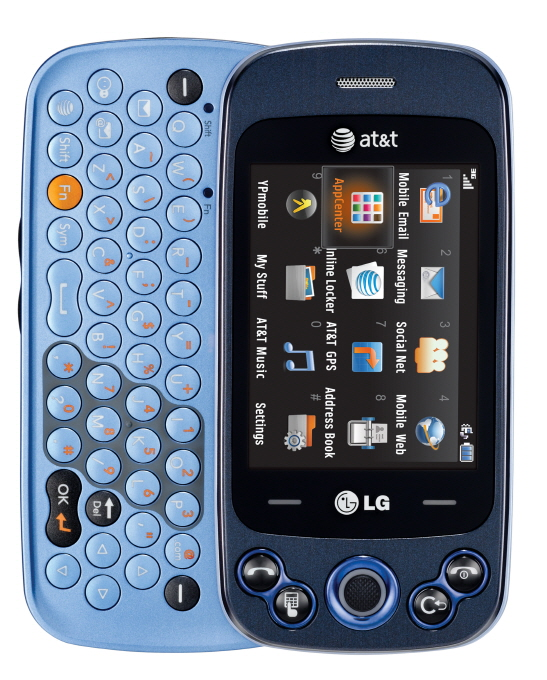 Front view of LG Neon II with a slide-out full QWERTY keyboard
