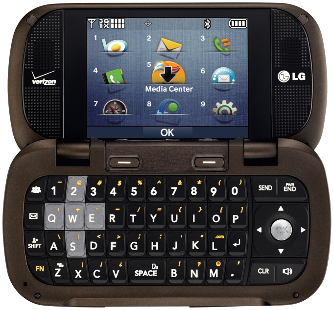 Front view of LG Octane on its side with a full QWERTY keyboard