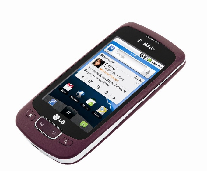 Front view of LG Optimus T in purple