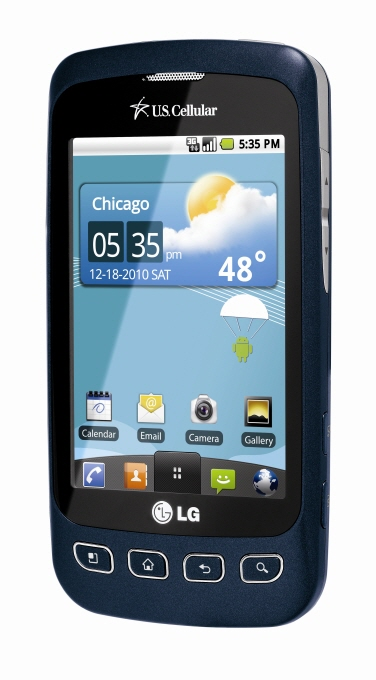Front view of LG Optimus U in blue facing slightly to the left