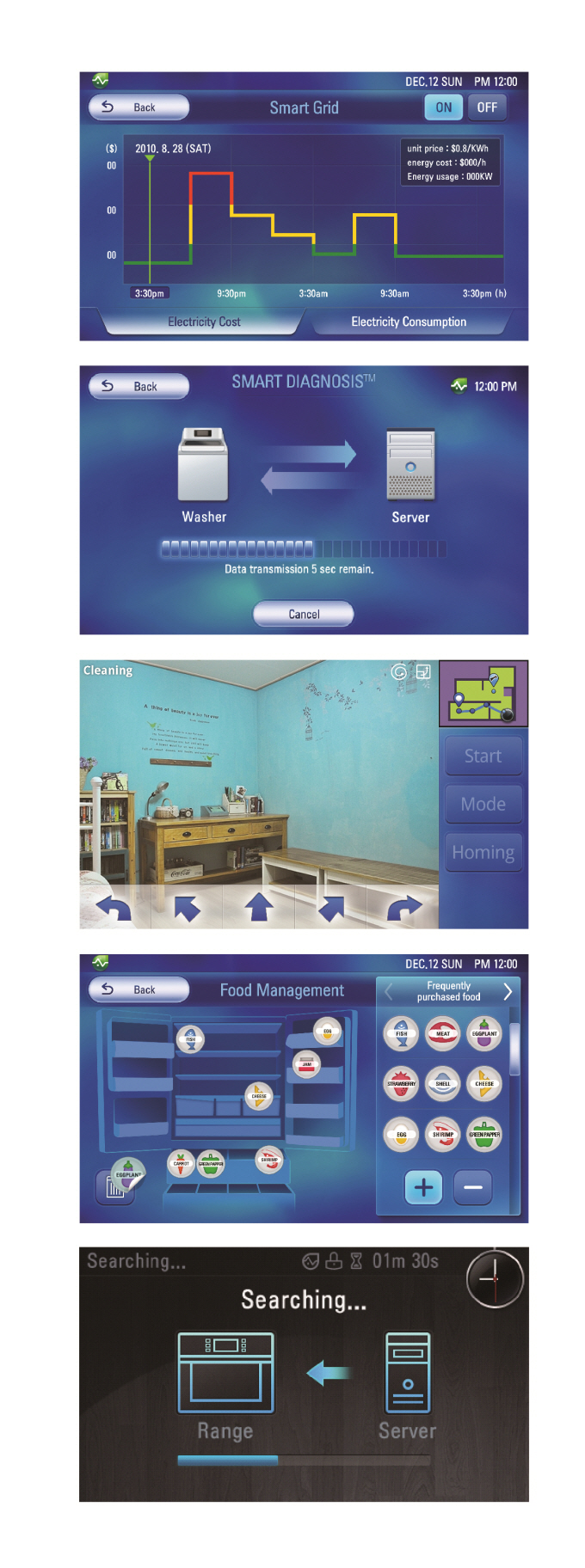 Five screenshots of the Smart Grid user interface, including Smart Diagnosis™ and Food Management for smart devices