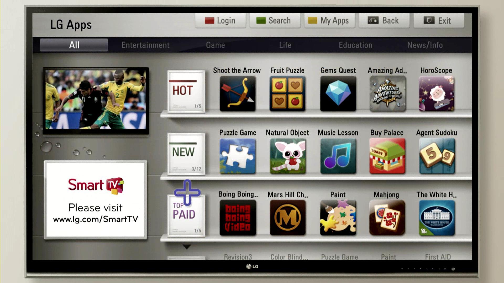 A screenshot of the new LG SmartTV platform home screen