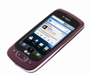 Front view of the purple LG Optimus T leaning 45-degrees to the right