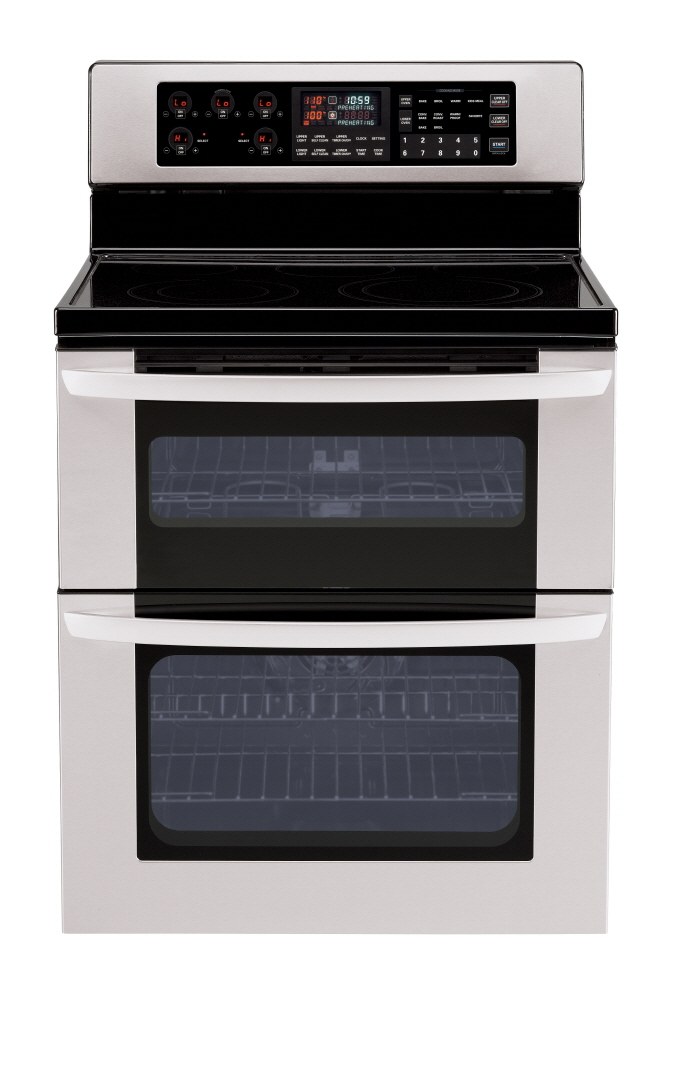 Front view of LG double-oven range with InfraGrill™