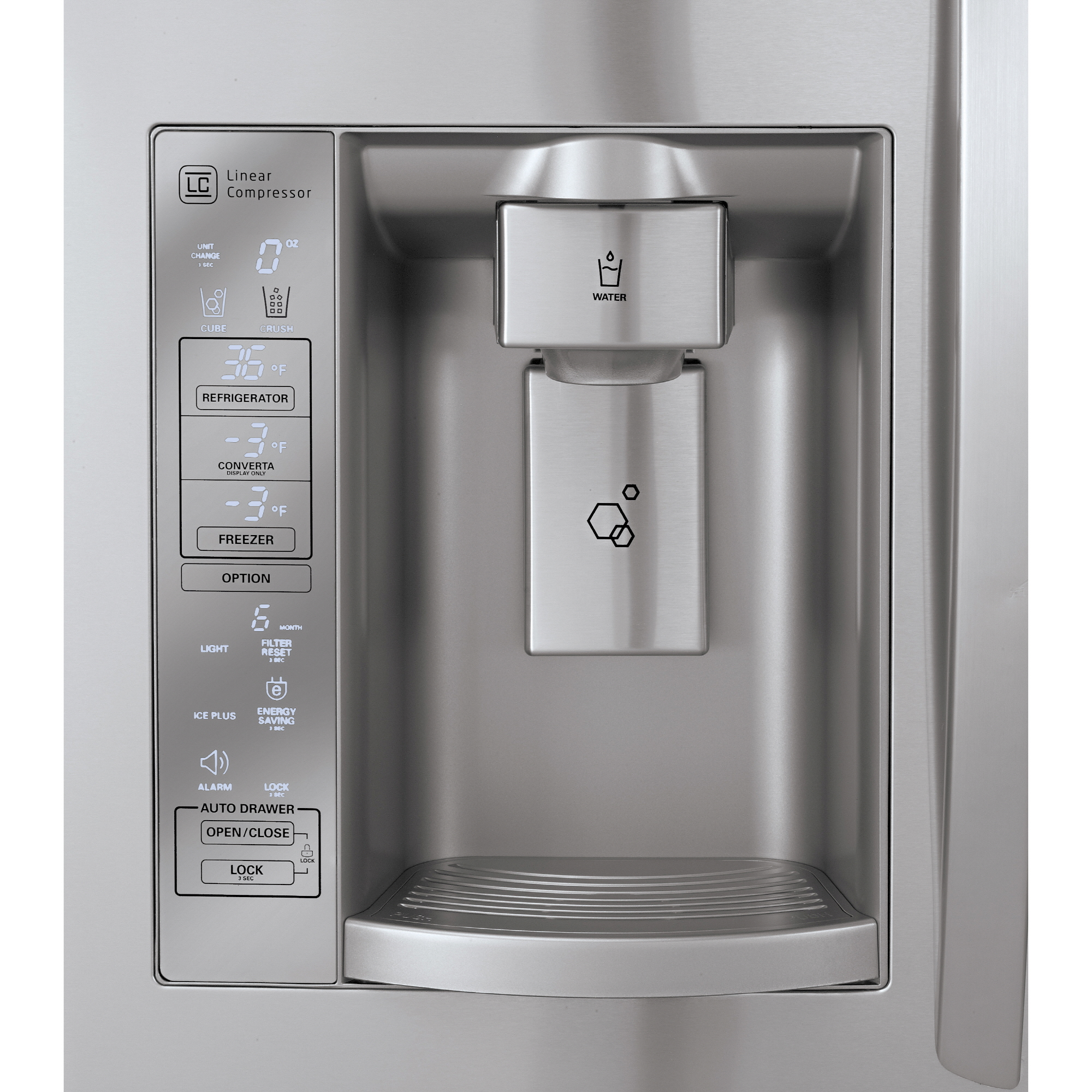 Close-up view of the new LG Four-Door French-Door refrigerator's water dispenser