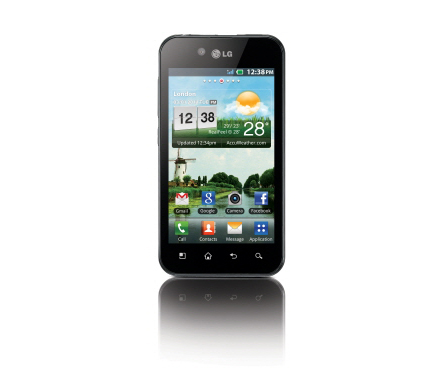 Front view of the LG Optimus Black on the home screen