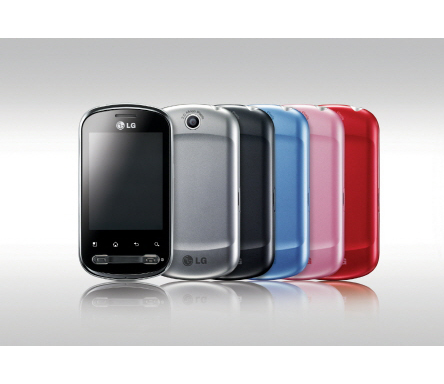 Front view of the LG Optimus Me and its numerous color options