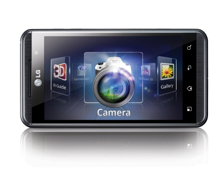 Front view of the horizontal LG Optimus 3D selecting the camera app