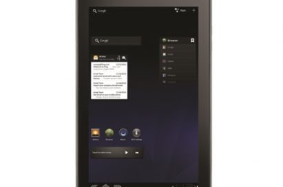 Front view of the LG Optimus Pad in its vertical position