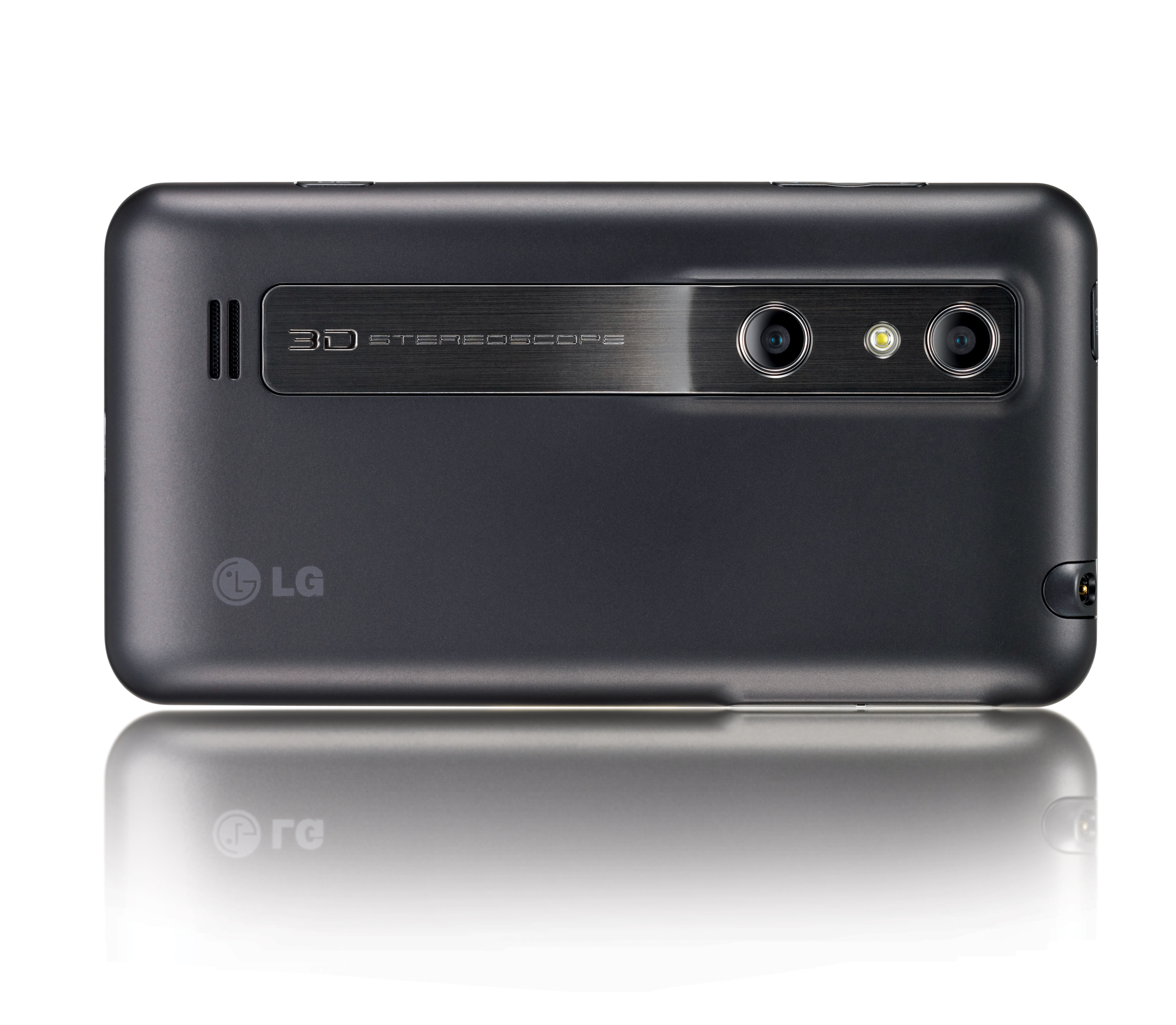 A horizontal view of the LG Optimus 3D's rear