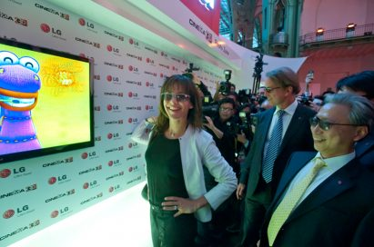 Sophie Marceau experiencing the wonders of the LG CINEMA 3D TV at the Le Grand Palais in Paris