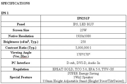 Specifications of the LG SUPER LED IPS monitor model IPS231