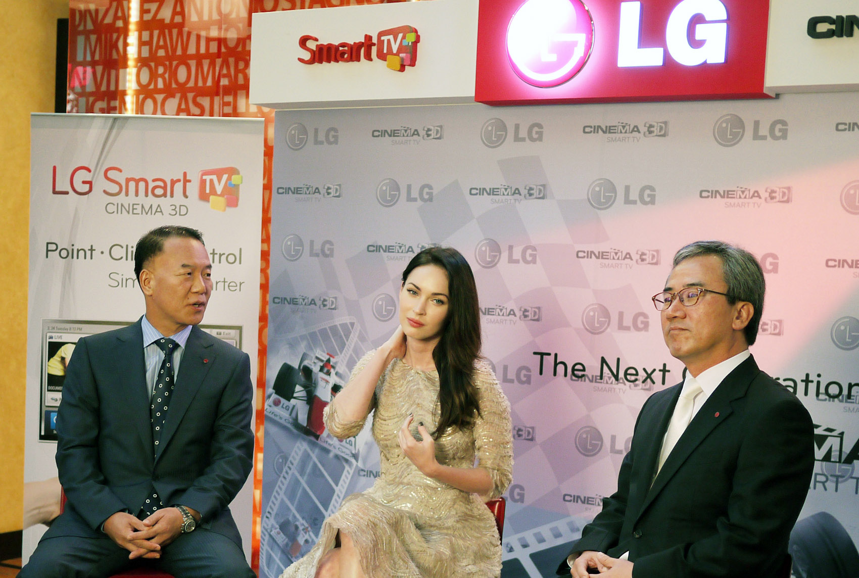 K.W. Kim, president of LG Electronics, Middle East and Africa, Hollywood actress Megan Fox and Kyung-hoon Byun, executive vice president of LG Electronics Home Entertainment Company, at Ferrari World in Abu Dhabi