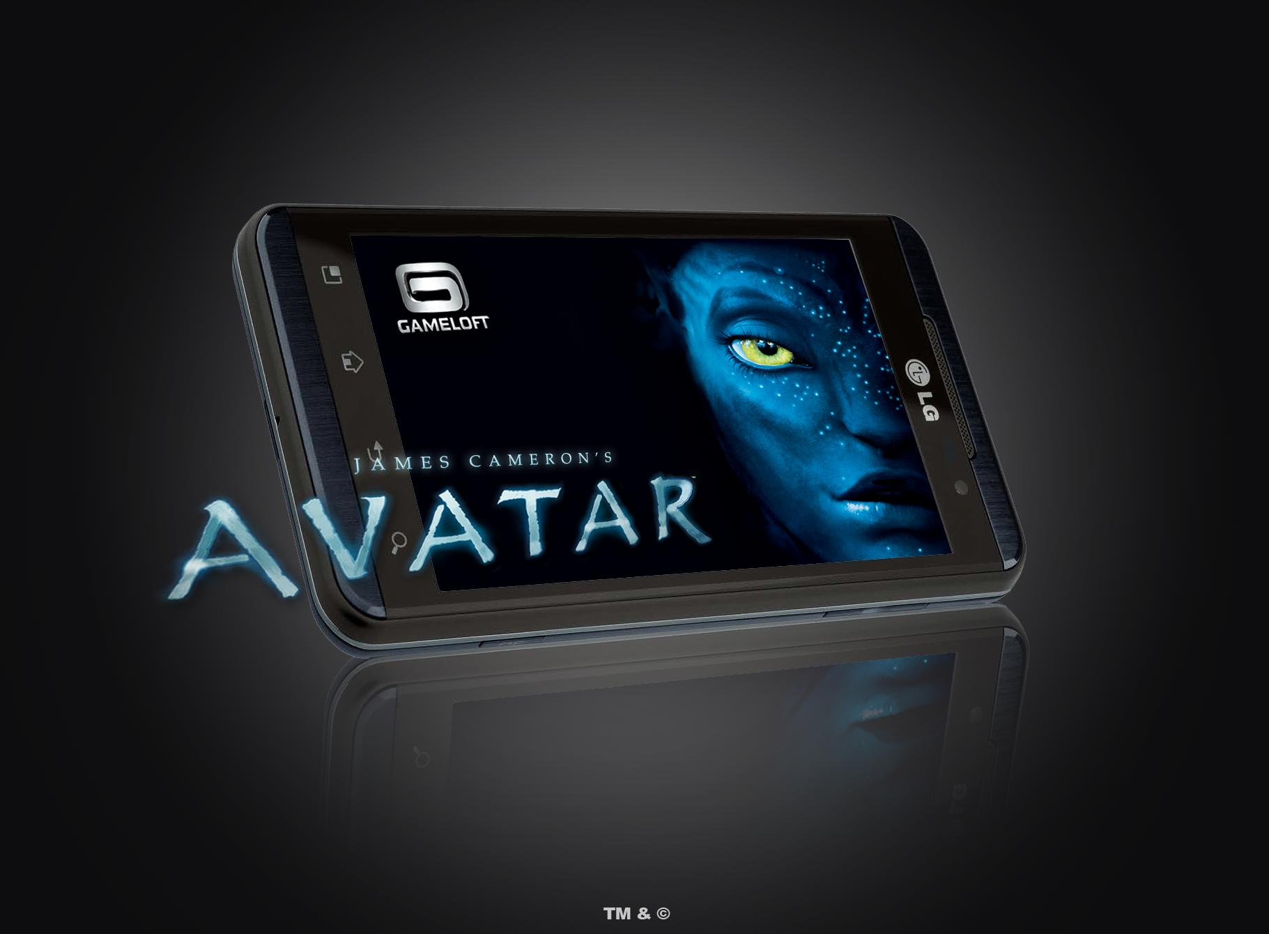 Gameloft's Avatar game image is displayed on LG Optimus 3D
