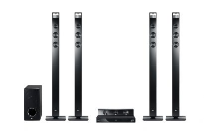 Close-up view of a complete set of LG'S HX906TX CINEMA 3D SOUND lineup
