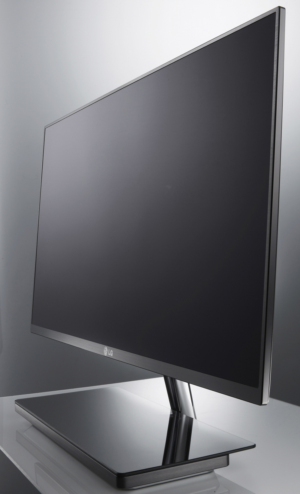 Front view of LG's E91 monitor rotated 70 degrees to the left