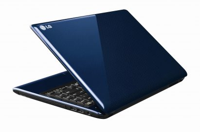 Rear view of the LG Aurora notebook in Blue with its display open 45-degrees