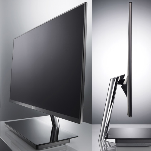 A front view of the LG IPS 3D monitor D237IPS and a side view of the LG monitor E2391VR