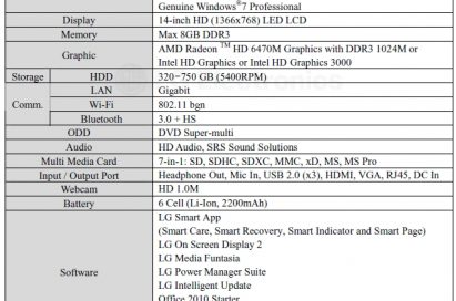 Specifications of LG Aurora notebook model S430