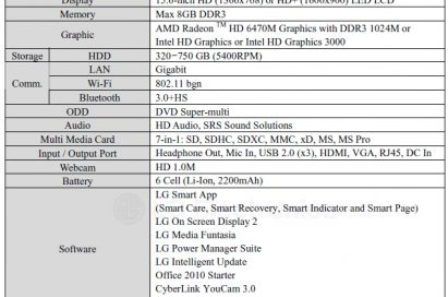 Specifications of LG Aurora notebook model S530