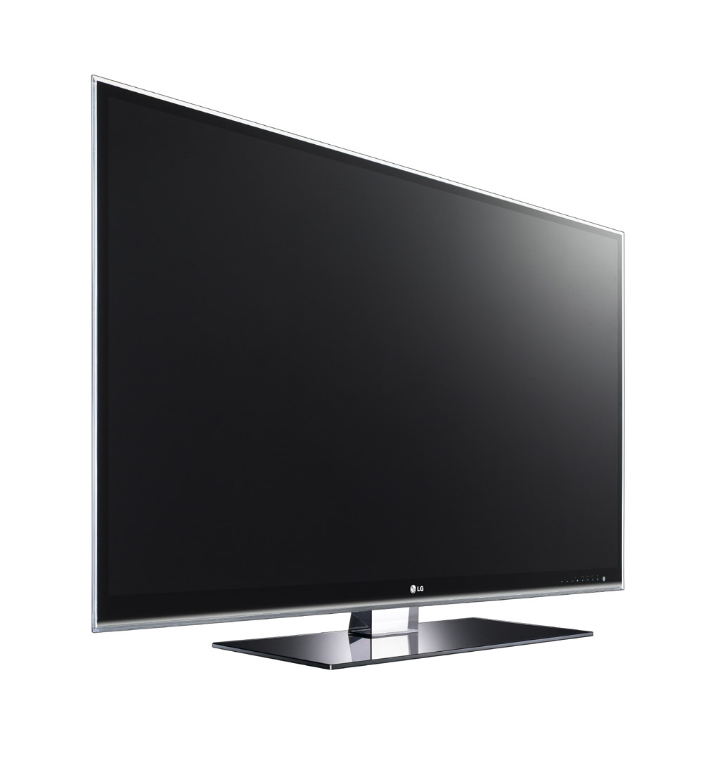 Front view of LG's LW980S LCD TV facing 20 degrees to the right