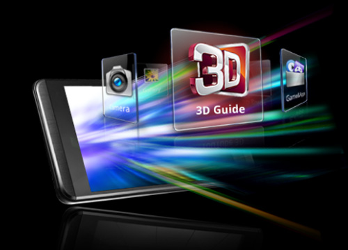 Multimedia application icons including 3D Guide and Camera burst into the air from inside a smartphone's screen