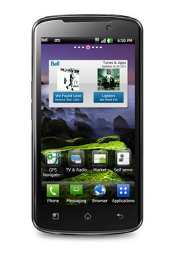 Front view of LG Optimus LTE