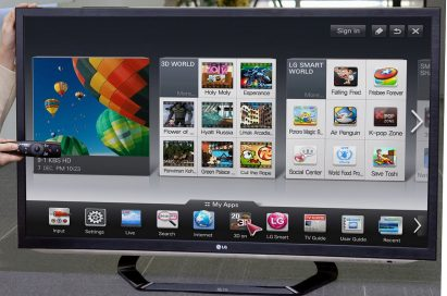 LG's newest Smart TV features displayed on a 2012 LG CINEMA 3D Smart TV
