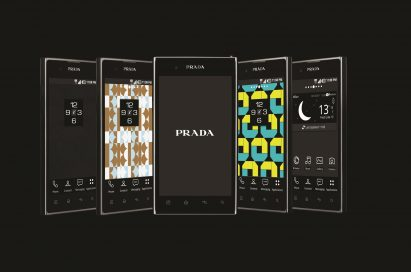 Five different home screen designs displayed on five PRADA phones by LG 3.0